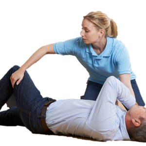 First aid recovery position helps a person breath