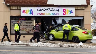 Car into store killing worker