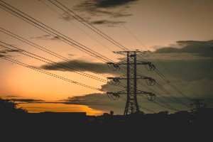 Electrical tower at sunset